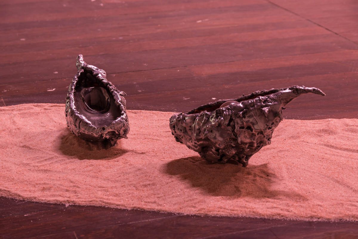 Aluminum, polyurethane, sterling silver, orthoclase, oil pigment mounted on salt<br>Photo by Simon Strong